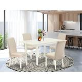 Latitude Run® Coreas Butterfly Leaf Acacia Solid Wood Dining Set Wood/Upholstered Chairs in White, Size 29.0 H in | Wayfair