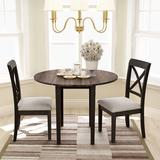 Longshore Tides Marple 3 - Piece Drop Leaf Dining Set Wood/Upholstered Chairs in Brown/Gray, Size 30.0 H in | Wayfair
