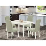 Latitude Run® Corean Butterfly Leaf Acacia Solid Wood Dining Set Wood/Upholstered Chairs in White, Size 29.0 H in   Wayfair