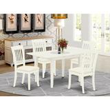 Red Barrel Studio® Alysin Bar Height Butterfly Leaf Rubberwood Solid Wood Dining Set Wood/Upholstered Chairs in White, Size 29.0 H in | Wayfair