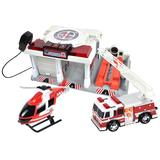 Maxx Action Mini Vehicle Playset Rescue Set with Helicopter and Fire Truck, Multicolor