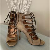 Nine West Shoes | Nine West Lace-Up Peep Toe Booties | Color: Tan | Size: 8