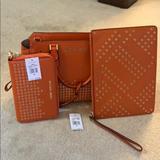 Michael Kors Bags | 3pcs Micheal Kors Hayes Satchel Wallet Clutch | Color: Orange | Size: Os