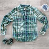 J. Crew Tops | J. Crew Perfect Popover In Herringbone Plaid Shirt | Color: Blue/Green | Size: S