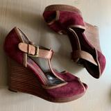 Nine West Shoes   Burgundy & Tan T-Strap Suede Wedges Peep Toe 8.5   Color: Red/Tan   Size: 8.5
