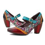 CrazycatZ Leather Mary Jane Shoes,Womens Colorful Patchword Block Heel Pumps Vintage Mary Jane Shoes (1665, Numeric_9)
