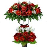 Sympathy Silks Artificial Cemetery Flowers - Realistic - Outdoor Grave Decorations - Non-Bleed Colors, and Easy Fit - Cinnamon Red Daisy and White Calla Lily Bouquet with matching Saddle for Headstone