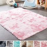 PAGISOFE Super Soft Large Rugs for Bedroom Living Room Kids Nursery, Fluffy Shag Floor Rug, Plush Fuzzy Shaggy Rugs, White and Pink Rug,Big Fur Rug Carpet, Moderns Abstract Area Rugs 5'x8'