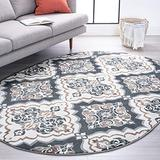 Peoria Gray 5x8 Oval Area Rug for Living, Bedroom, or Dining Room - Traditional, Floral