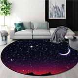 Night Round Rug,Red Sky at Night with Starry Landscape and Mountains Astrology Astronomy Carpet Door Pad for Bedroom/Living Room/Balcony/Kitchen Mat,Diameter-55 Inch Indigo Magenta Black