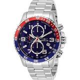 Invicta Men's 45mm Specialty Pilot Quartz Chronograph Blue Dial Silver Tone Stainless Steel Bracelet Watch
