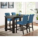 Roundhill Furniture Aneta Antique Black Finished Wood 5-Piece Counter Height Dining Set, Blue