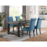 Roundhill Furniture Aneta Antique Black Finished Wood Dining Set, Table with Four Chairs, Blue