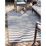 Unique Loom Outdoor Collection Classic Stripes, Transitional Indoor & Outdoor Area Rug, 6 x 9 Feet, Charcoal/Ivory