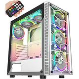MUSETEX PC Gaming Case 6pcs 120mm ARGB Fans and USB 3.0 Tempered Glass Panels PC Cases, Supports ATX/Mid-ATX/Micro-ATX/Mini-ITX Motherboard Tower Computer Cases ,White Mid Tower ATX Chassis(G05MS6-BB)