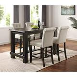 Roundhill Furniture Aneta Antique Black Finished Wood 5-Piece Counter Height Dining Set, Tan