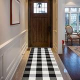Cekene Buffalo Plaid Check Runner Rug 2'x6' Cotton Hand Woven Area Rug Washable Floor Runner for Kitchen Laundry Bathroom Bedroom Farmhouse