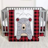 Peak A Bear Red and Black Buffalo Plaid 3 Piece Baby Boy Crib Bedding Set