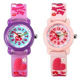 Kids Watches for Girls Children Toddler Time Teacher Watches Lovely Cartoon Silicone Strap Japan Quartz Waterproof Wrist Watch with Beautiful Box - 2 Pack