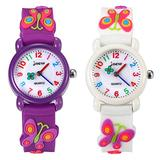2 Pack Kids Watch for Girls Japan Quartz Analog Wrist Watch Children Time Teacher Watch Cute Butterfly Silicone Strap Waterproof for Ages 3-8 Little Girls