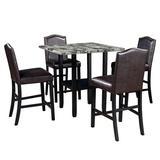 Red Barrel Studio® Amaleigh 5 - Piece Counter Height Dining Set Wood/Upholstered Chairs in Black/Brown, Size 36.0 H x 35.0 W x 35.0 D in | Wayfair