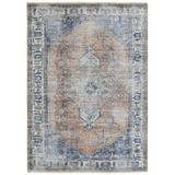 Bungalow Rose Dolmen Oriental Blue/Gray/Tan Area Rug Polyester in Blue/Brown/Gray, Size 138.0 H x 111.0 W x 0.25 D in   Wayfair