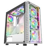 MUSETEX Computer Chassis 6pcs 120mm ARGB Fans and USB 3.0 Tempered Glass Panel PC Gaming Cases,Supports ATX/Mid-ATX/Micro-ATX/MiniITX Motherboard Computer Cases, White Mid Tower ATX Chassis (G05N6-BB)