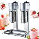 Meiney Electric Milkshake Maker Stainless Steel Milk Shake Machine Speed Adjustable Double Head Drink Mixer Beverage Equipment Smoothie Milk Foam Mixer Blender
