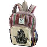 Unique Hand Print Mini Hemp Backpack Small Back Pack Hippie Bag Pack Festival Bag Pack 100% Hemp|100 VEGAN| FAIR TRADE | Handmade with Love
