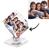 AsiaRhyme Custom Picture Frame Crystal Personalized Photo Frame,Desk Decor 3D Small Personalized Picture Frames,3 Photos Rotatable Cube Custom Photo Frame