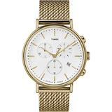 Timex Men's Fairfield Chrono 41mm Watch – Gold-Tone & White with Stainless Steel Mesh Band