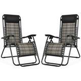 FORCLOVER 2Pcs Folding Patio Rattan Zero Gravity Lounge Chair-CoffeeMetal in Gray, Size 34.0 H x 25.5 W x 32.0 D in   Wayfair HWY1-OP70634GR-2