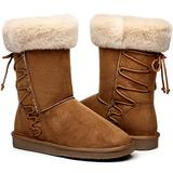 Women's Suede Winter Boots, Waterproof Warm Snow Boots for Women, Fuzzy Fur Mid-Calf Slip On Boots for Indoor Outdoor Christmas Brown Size 10