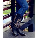 ROSY Women's Casual boots Black - Black Embroidered Cowboy Boot - Women
