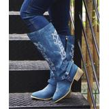 YASIRUN Women's Western Boots Blue - Blue & White Leaves Embroidered Cowboy Boot - Women