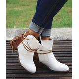 ROSY Women's Casual boots White - White Wrapped-Lace Ankle Boot - Women