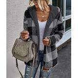 Romantichut Women's Sweatshirts and Hoodies BLACK - Black Plaid Reversible Sherpa Jacket - Women