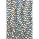 Super Area Rugs Confetti Braided Rug Traditional Rug, Marina Blue, 5' X 8' Oval