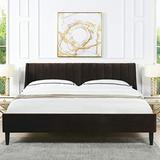 Sandy Wilson Home Marlowe Upholstered Platform Bed Set, King, Deep Brown Performance Velvet