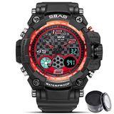 Digital Watch SBAO Watch Men's Luxury Analog Quartz Dual Display Watch Waterproof Sports Military Digital Led Army Tactical Wrist Watch (1_Black red)