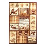 Furnish My Place Wildlife Accent Rug - 2 ft. x 4 ft., Multicolor, Lodge Indoor Rug with Animal Print, Jute Backing, Elegant Border