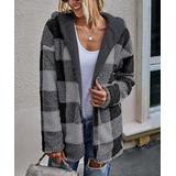 Supreme Fashion Women's Non-Denim Casual Jackets BLACK - Black & Gray Buffalo Check Reversible Hooded Jacket - Women