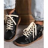 ROSY Women's Casual boots Black - Black Side-Panel Lace-Up Ankle Boot - Women