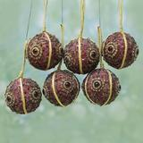 The Holiday Aisle® Christmas Magic Beaded Ball Ornament Set of 6Fabric in Brown, Size 2.4 H x 2.4 W x 0.2 D in   Wayfair