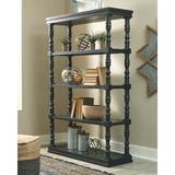 "Rosalind Wheeler Kater 74"" H x 48"" W Standard Bookcase Wood in Black/Brown, Size 74.0 H x 48.0 W x 17.13 D in   Wayfair"