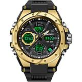 Mens Watches Digital Waterproof Military Watch Tactics Large Dual Dial Display Army Sports Big Wristwatch for Men with Date Alarm LED Stopwatch Analog