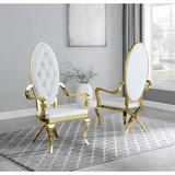 Best Quality Furniture SC 85-6-7-8 Tufted Metal Arm Chair in Faux Leather in White, Size 51.0 H x 27.0 W x 23.5 D in | Wayfair SC85