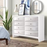 "ACME Furniture Ireland 8 Drawer 59"" W Double Dresser Wood in White, Size 41.0 H x 59.0 W x 17.0 D in   Wayfair 21706"
