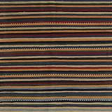 Bungalow Rose Colum Striped Orange/Ivory/Black Area Rug, Wool/Polyester in Orange/Ivory/Cream, Size Square 7' | Wayfair