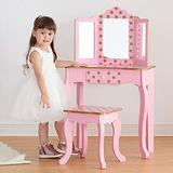 Fantasy Fields Teamson Kids Pretend Play Kids Vanity Table and Chair Vanity Set with LED Mirror Makeup Dressing Table with Drawer Fashion Polka Dot Prints Gisele Play Vanity Set Pink/Rose Gold